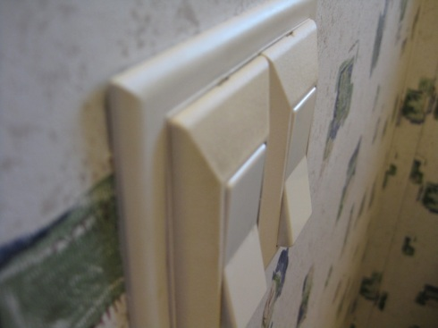 Dirty smudges on the light switch plate