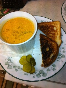 Homedmade tomato soup and grilled cheese sandwich